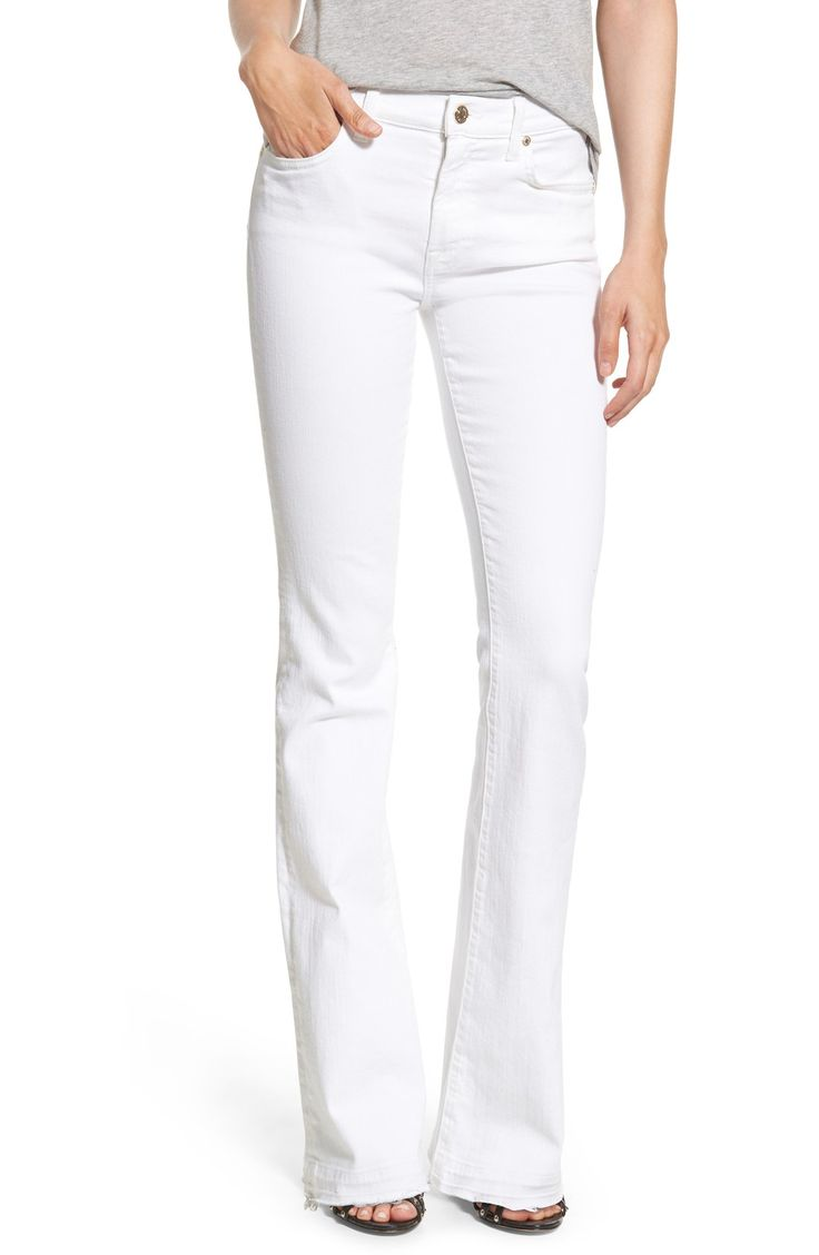 7 For All Mankind® Released Hem Bootcut Jeans (White) #favorite