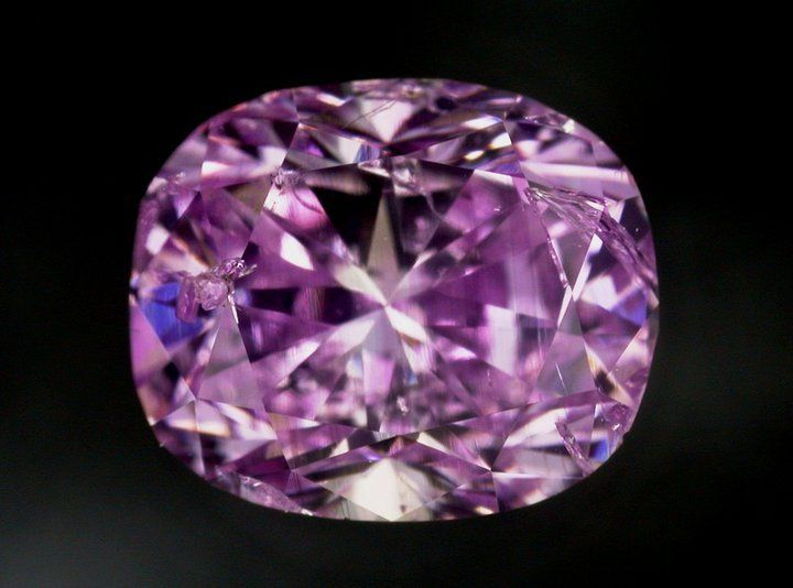 One of the rarest of colors in natural color diamonds. … Purple is a dominant and rare hue in nature and color diamonds. As purple color is correlated to internal grain formation, the cut is exceedingly important to color release. So rare are these pure purples, there has yet to be revealed a large, historically important pure purple diamond. The presence of hydrogen will impart a purplish shade to a diamond ranging from light violet tone to a beautiful purplish hue.