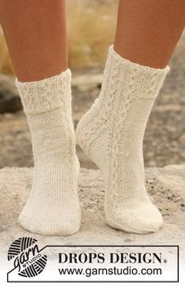 Cute—'Fabel' knitted socks with cables—these would be cool under boots if taller—DROPS Design❣