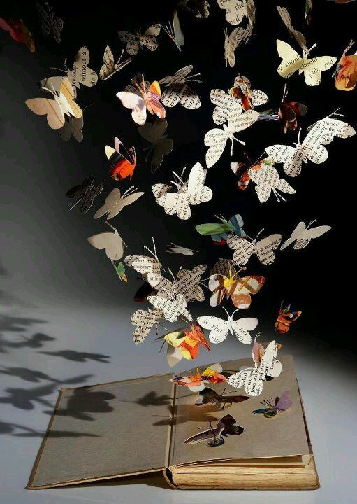 Butterfly Book Art - This is how we feel when reading a good book : ) The pages come to life right before you! Our gift books are filled to the brim with inspiring quotes that will make your heart flutter. They make great gifts too! Available at http://richerresourcespublications.com/Books/Gift_Books/Gift_Books.htm & http://www.amazon.com/Patty-Crowe/e/B009V9UU2O/ref=sr_ntt_srch_lnk_2?qid=1385236729&sr=8-2
