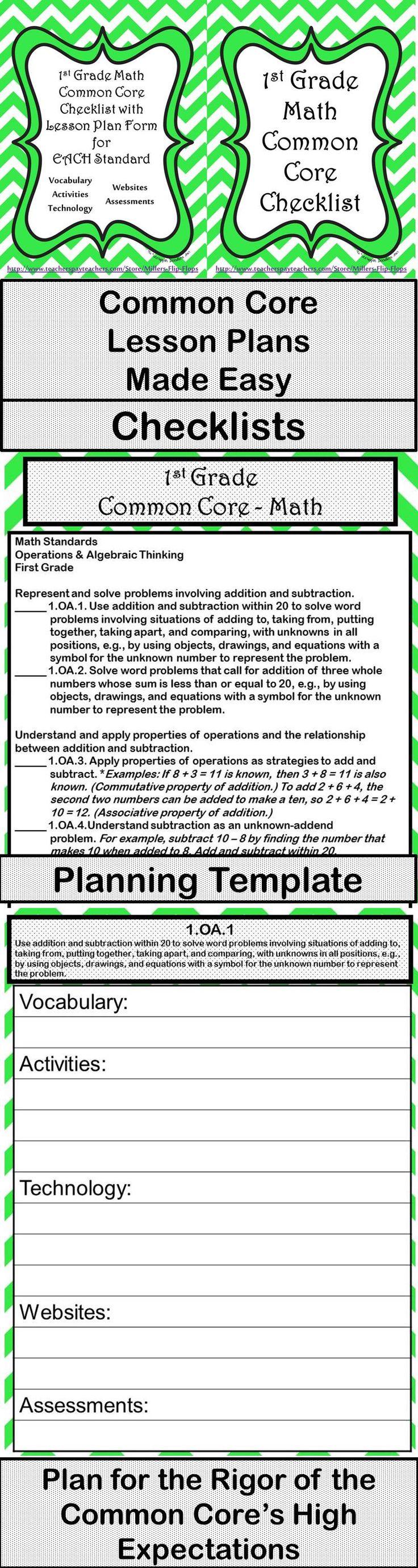 lesson preparation template - 1st grade math common core checklist lesson planning