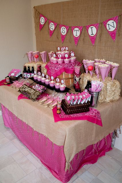 Destiny's Pink Cowgirl Party Dessert Buffet | CatchMyParty.com