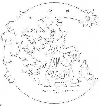 engel mit laterne - angel with lantern | weihnachtsschablonen, scherenschnitt weihnachten