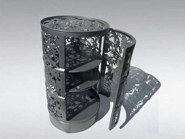 Intricate recycled oil drum furniture is cut to look like lace : TreeHugger