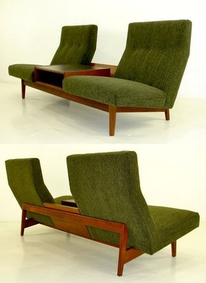 -olive green with wood -chairs joined with table inbetween -very functional
