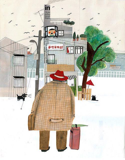 Chia-Chi Yu illustration // Il·lustració amb detalls a línia fina, paisatge, ciutat. Inspiració