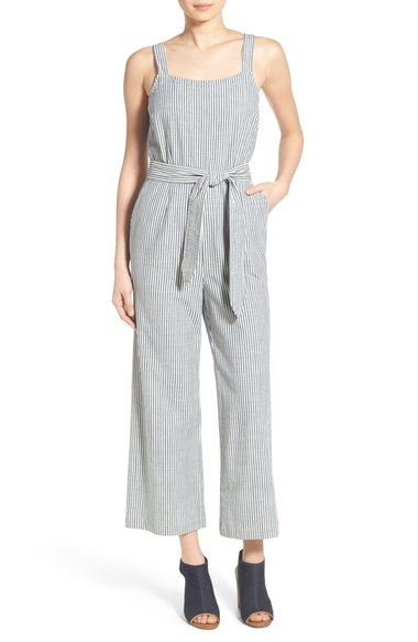 Madewell 'Muralist' Stripe Crop Jumpsuit available at #Nordstrom