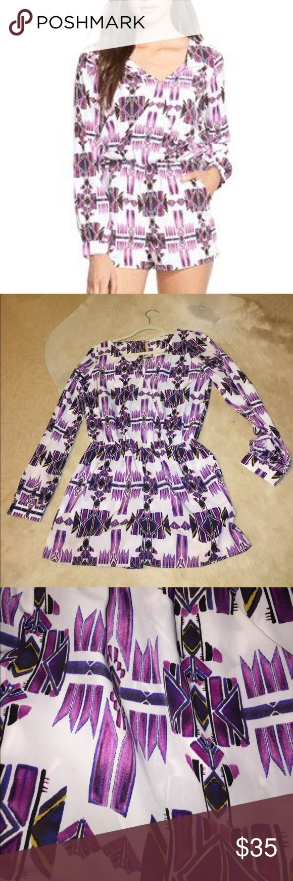 Socialite purple okay print surprise romper Purple surplice ikat / Aztec print romper. Only worn once. Long sleeve size medium. Social brand purchase from nordstroms. Great conditions. Perfect for lsu games/ summer! socialite Pants Jumpsuits & Rompers