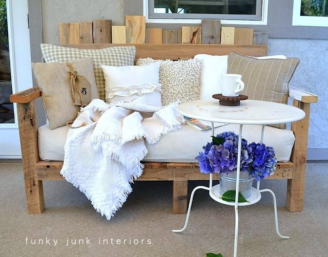 pallet sofa in whites with hydrangeas via Funky Junk Interiors