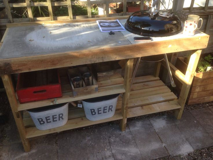 Handmade Bbq Table With Weber Kettle Barbeque Tuin