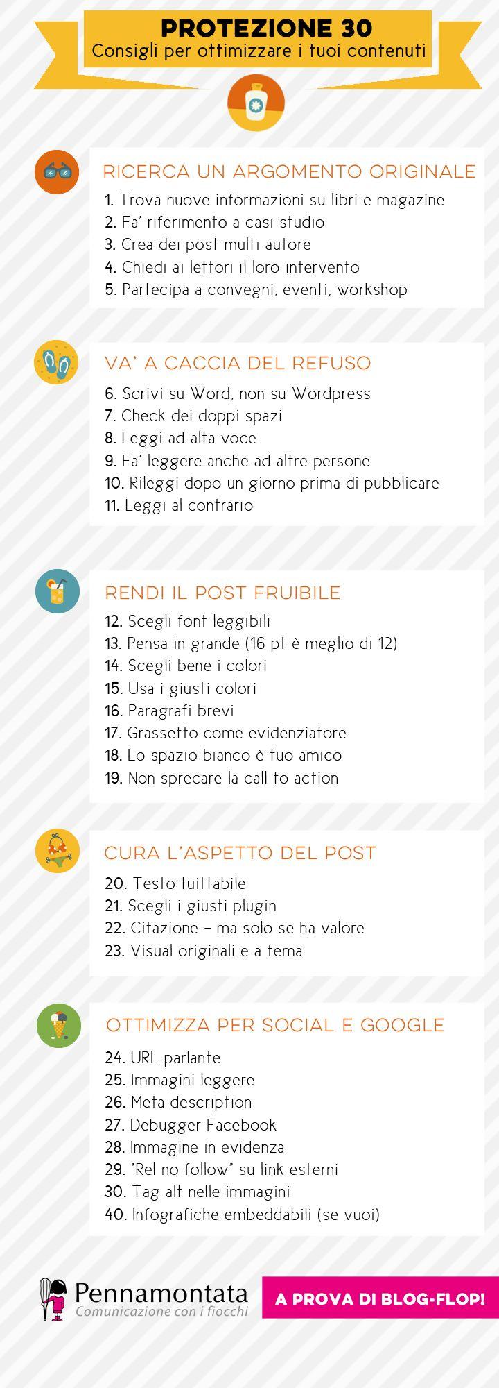 Protezione 30. Consigli dell'estate per ottimizzare i contenuti | Pennamontata   #blog #blogging