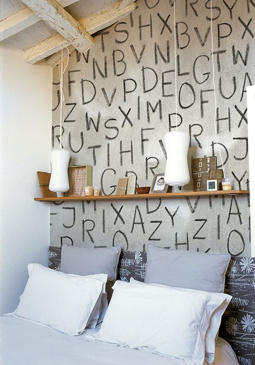 wall decor: Walldeco, Wall Decor, Cute Bedrooms, Alphabet Wall, Wall Treatments, Bedrooms Wall, Letters Wall, Kids Rooms, English Home