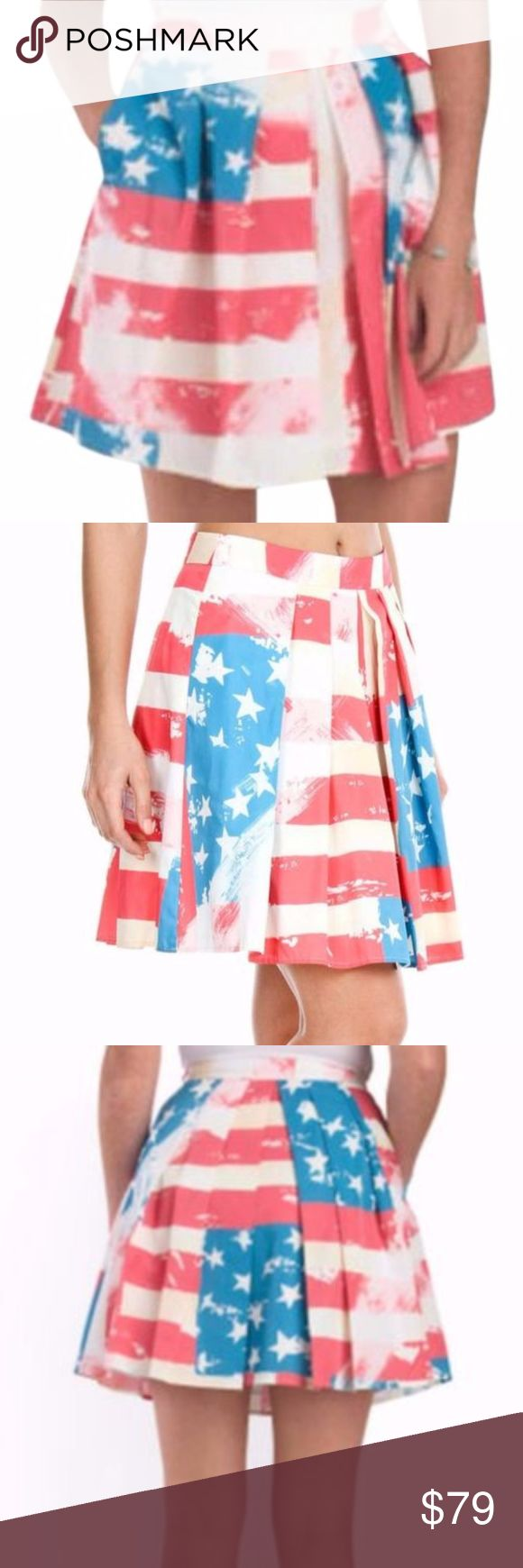 Catherine Malandrino Pleated American Flag Skirt Item Details....   Designer: Catherine by Catherine Malandrino   Size: 4   Fabric: 100% polyester   Lined:  yes    Approximate Measurements:   *All measurement taken laying flat, unstretched.   Description: Get your girl power on in this red, white and blue fully pleated American Flag Rocket Skirt.  Side hidden zip closure, banded waist, box pleats.  Great stylish look for a patriotic event.   Condition:  Brand new with tags.  Retail $138…