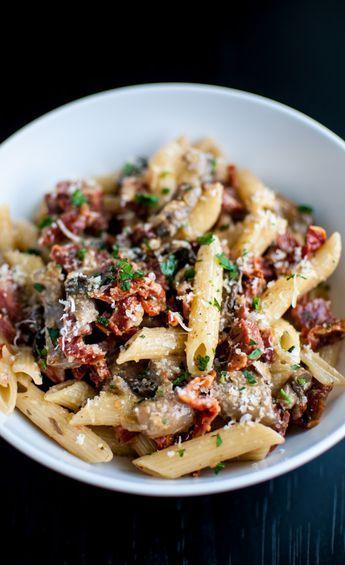 Chorizo, sun-dried tomatoes, portobello mushrooms, and plenty of garlic make this pasta dish a winner. More