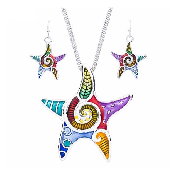 Product of the Week: Starfish Wonder Set.  This beautiful starfish necklace and earring set is great for adding a bit of pizzazz to your work outfit. The colours are simply stunning and we love the swirl in the middle tying it all together. #figandwattle #starfish #fashion #jewellery #jewelry