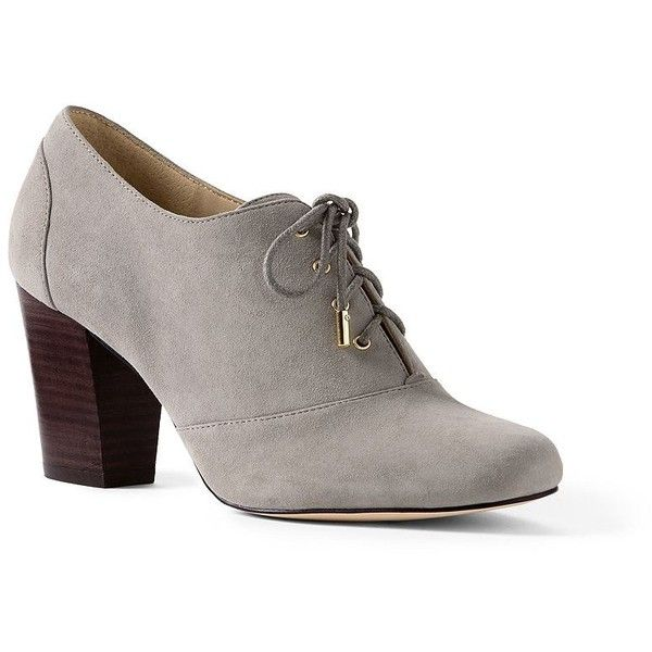 Lands' End Women's Heeled Oxfords ($99) ❤ liked on Polyvore featuring shoes, oxfords, grey, grey oxford shoes, grey oxfords, cap toe oxford, lace oxford shoes and cap toe shoes