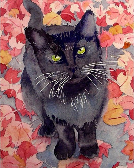 "Made by: Nancy LaBerge Muren from San Francisco, Californië , ""High Hopes"" - Black cat with green eyes. Art Watercolor"