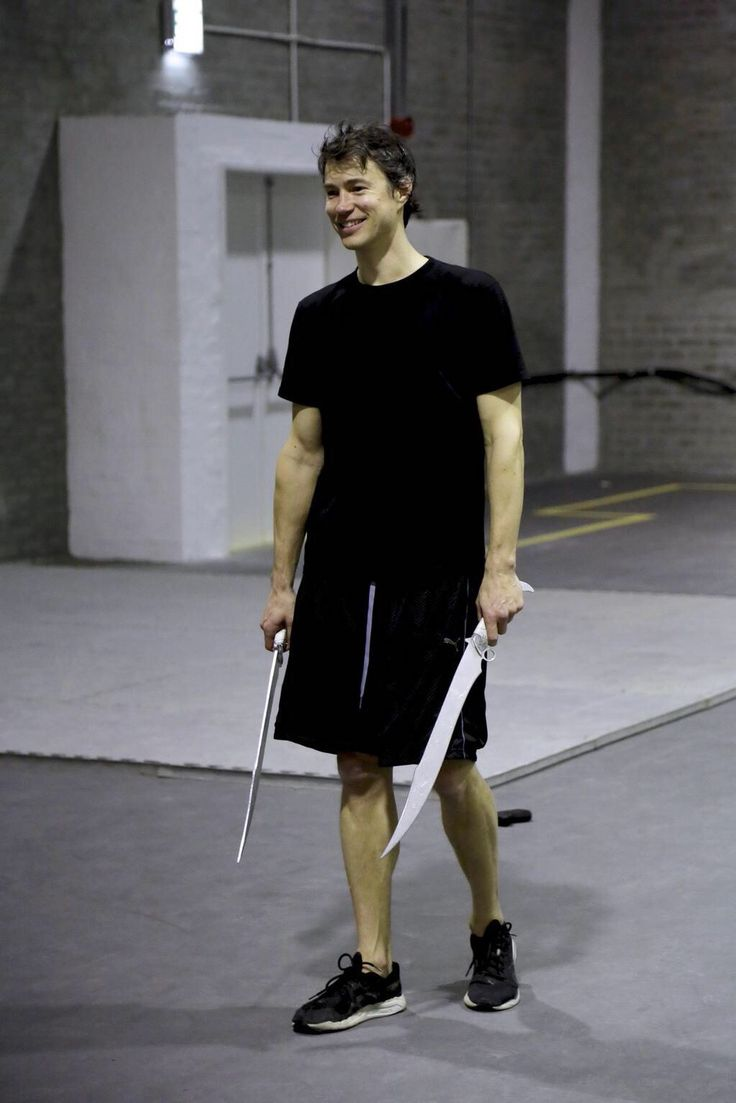 Tom Wisdom practicing with swords! Sweet smile #Dominion
