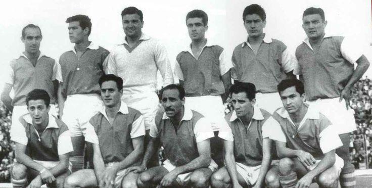 Independiente Santa Fe campeón en 1960 Arriba: Juan Montero, Guillermo Milne, Leonardo Bevilacqua, Víctor García, Jaime Silva y Carlos Rodríguez. Abajo: Ricardo Campana, Miguel Resnik, Oswaldo Panzutto, Alberto Perazzo y Jairo Arias.