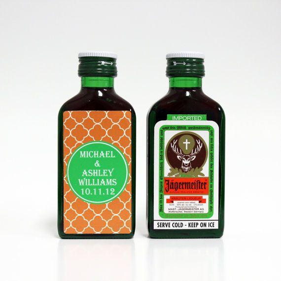 Mini bouteille de Liqueur de Jager Jägermeister personnalisé étiquettes personnalisées mariage faveurs Merci répétition dîner mariage réception douche cadeaux