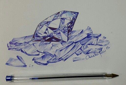 Diamante tra i cocci Bic su carta