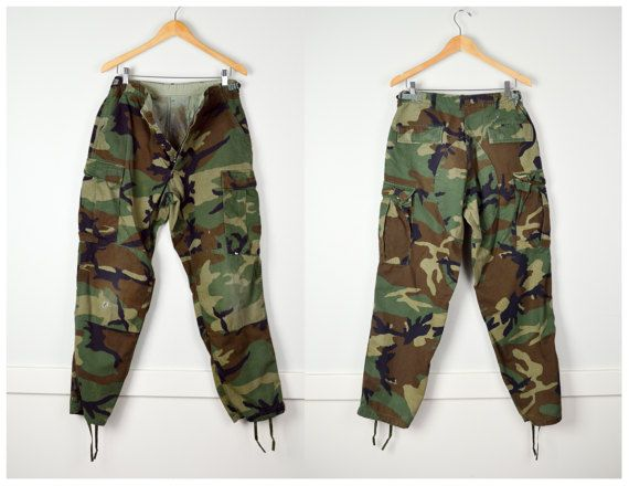 Distressed Camo Pants Vintage Clothing Military Clothes 90s