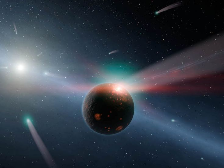 Fantastic Exoplanet Illustrations That Meld Science and Imagination | Observations from the Spitzer space telescope showed that Eta Corvi, a star near our own, was surrounded by a dusty sphere of comets. Illustrator: Robert Hurt. Image: NASA/JPL-Caltech/   | WIRED.com