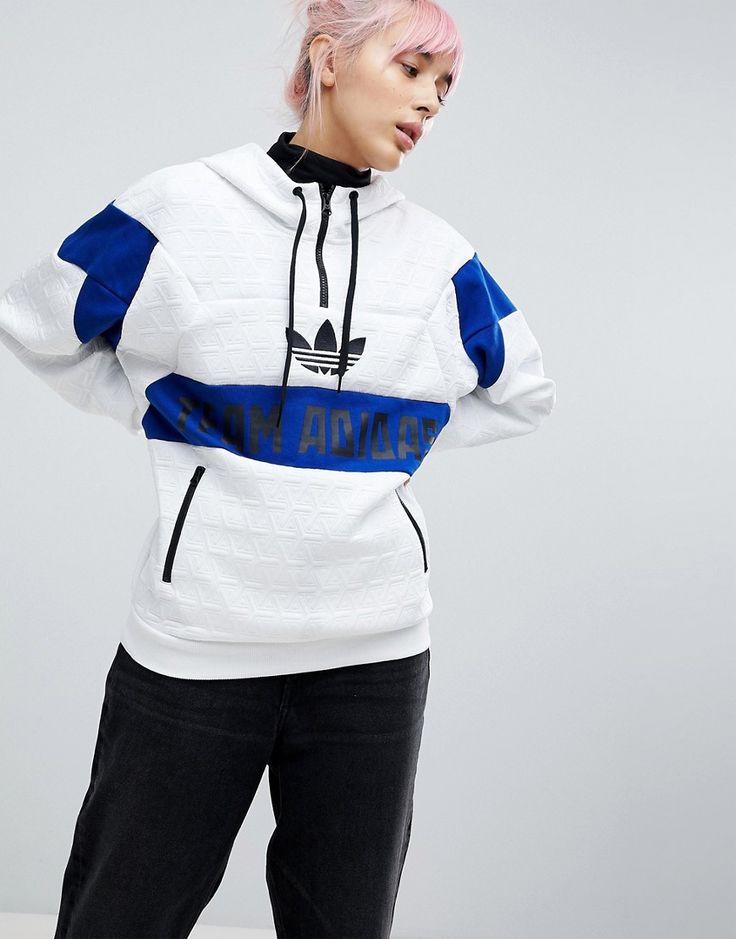 ADIDAS ORIGINALS ADIDAS ORIGINALS PANEL PULLOVER HOODIE - WHITE. #adidasoriginals #cloth #
