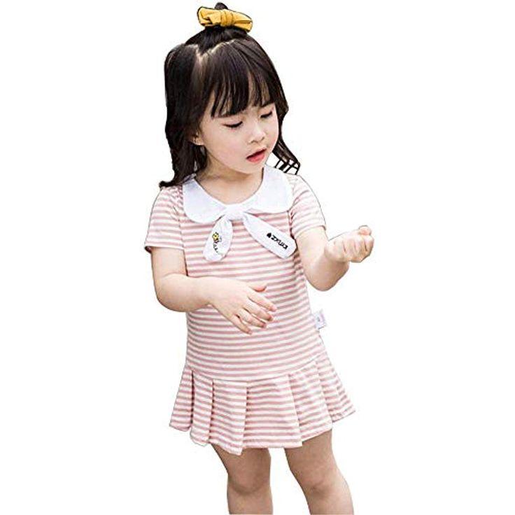 Baby-Mädchen Kleid Sommer Rock Casual Dress Kurzarm Streifen Sommerkleid 1-7 Ja…