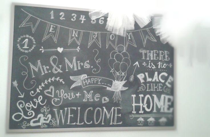 stampa ikea recuperata e trasformata in lavagna (chalk board) con disegni fatti a mano con vero gessetto