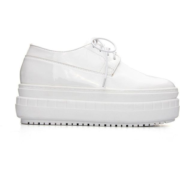 Yoins White Leather Look Platform Shoes (791.260 IDR) ❤ liked on Polyvore featuring shoes, white, platform shoes, white platform shoes, round cap, leather upper shoes and faux leather shoes
