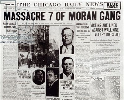 "Feb. 14, 1929. Seven rivals of Al Capone's gang are gunned down in a Chicago garage in what becomes known as the ""St. Valentine's Day Massacre."""
