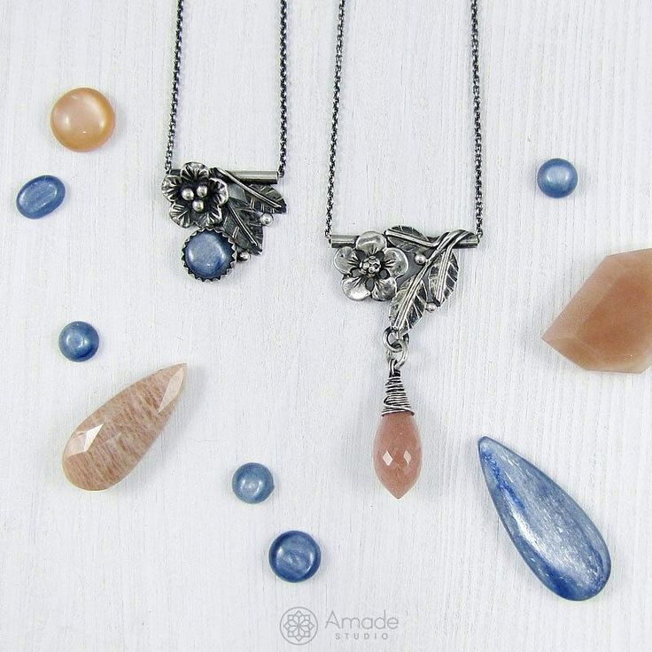 www.polandhandmade.pl -  Handmade pendants with tiny leaves and flowers. Sterling silver and kyanite or sunstone. -  #polandhandmade #amadestudio #artisanjewery #silverart #handmadejewellery #silverflower #handmadenecklace