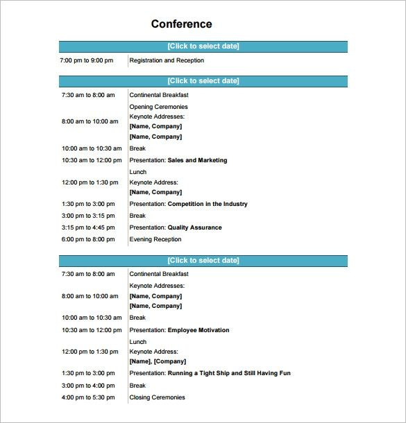 Conference Program Template Top 8 Fantastic Experience Of This Year S Conference Program Tem Meeting Agenda Template Agenda Template Itinerary Template