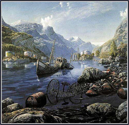 OLJEMALERI. Fritt etter Tidemand og Gude Oljeferden i Hardanger -Rolf Groven