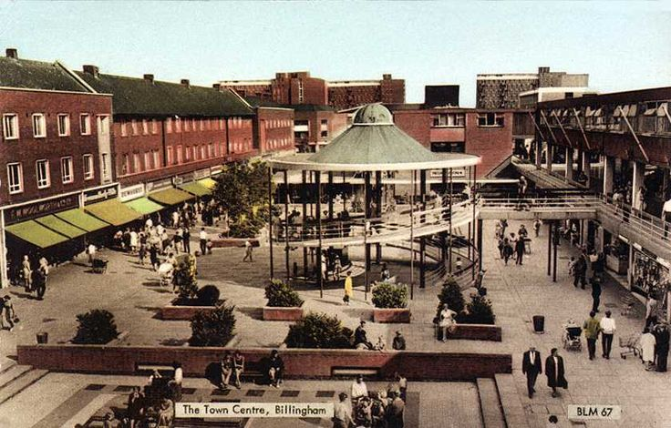 Billingham town centre - from the shops I can see this is during the late 60s, early 70s