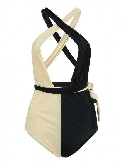 Khaki and Black Contrast Plunge Multi-way Strap Swimsuit