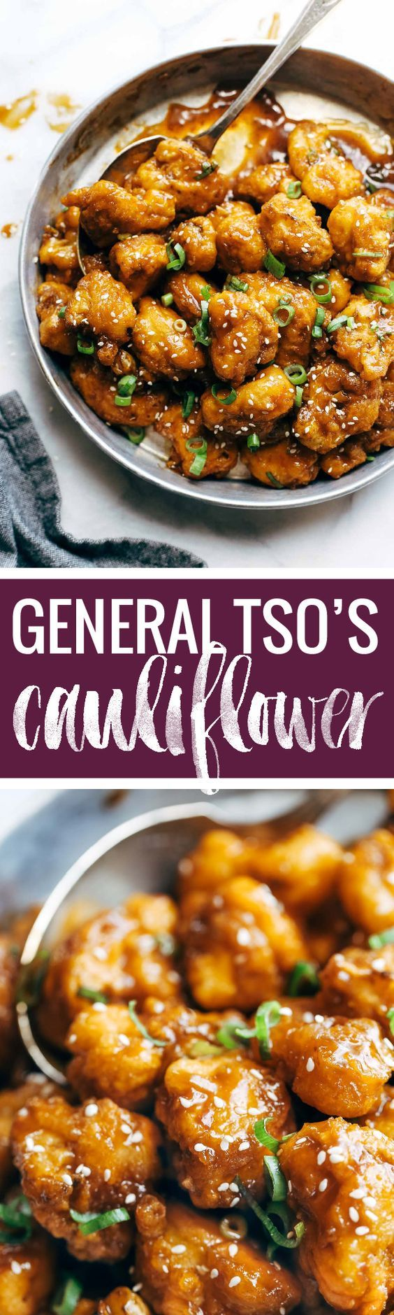 General Tso's Cauliflower - golden brown crispy fried cauliflower tossed in a made-from-scratch spicy sweet sauce. Awesome vegetarian / meatless recipe. | http://pinchofyum.com
