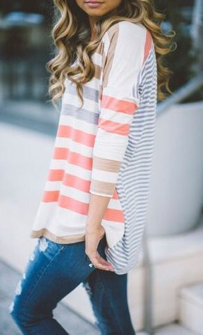 **** Loving this adorable striped 3/4 length sleeve Henley.  Great casual fall top. Stitch fix fashion trends. Stitch Fix Fall, Stitch Fix Spring Stitch Fix Summer 2016 2017. Stitch Fix Fall Spring fashion. #StitchFix #Affiliate #StitchFixInfluencer