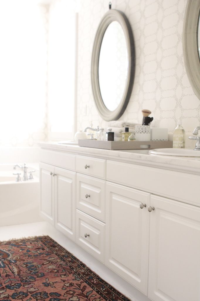 Gray Oval Vanity Mirrors, Transitional, Bathroom, Owens And Davis Design