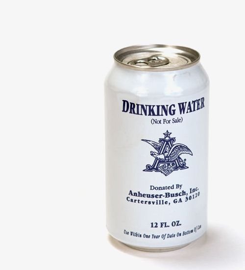 Canned water for those in need and from a Budweiser plant right on my back door PD