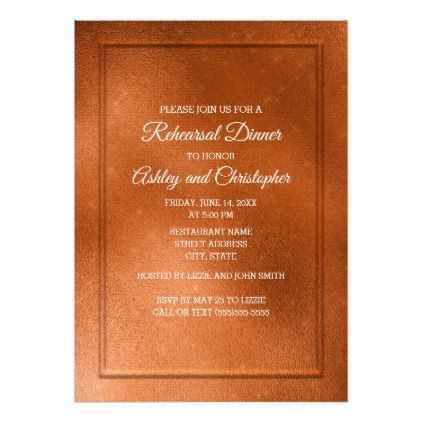 Elegant Trendy Copper Wedding Rehearsal Card - elegant wedding gifts diy accessories ideas