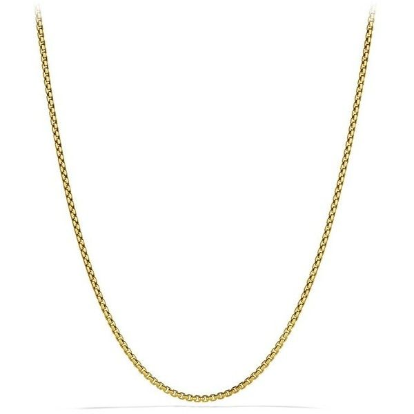 """Men's David Yurman Small Box Chain Necklace In 18K Gold, 2.7Mm"" ($2,700) ❤ liked on Polyvore featuring men's fashion, men's jewelry, men's necklaces, gold, mens yellow gold cross necklace, mens box chain necklace, mens 18k gold chains, mens gold chain and mens necklaces"