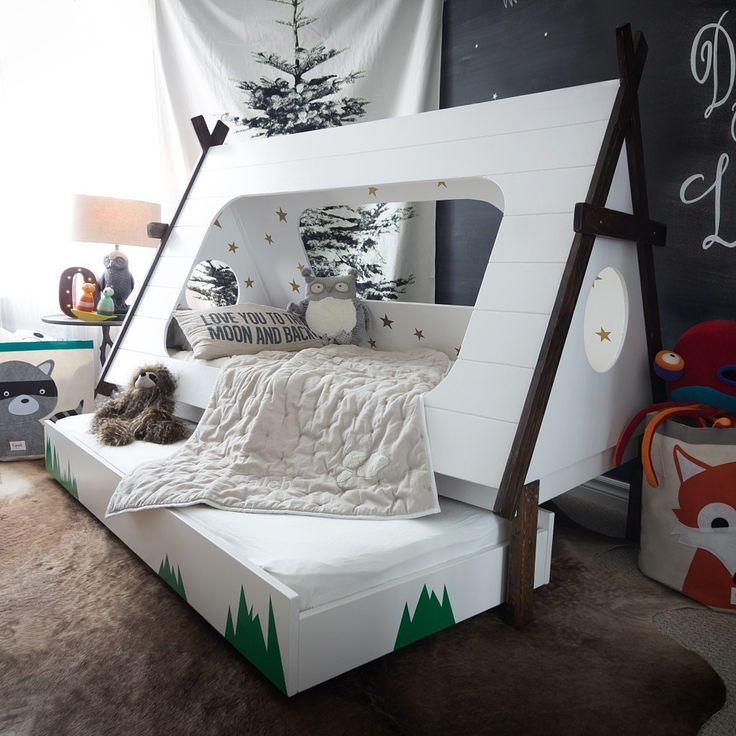 This DIY Bed Lets Kids Feel Like They're Camping All Year: We've all been there: you see an absolutely brilliant product on Pinterest, only to find out that it would cost more than your monthly paycheck.