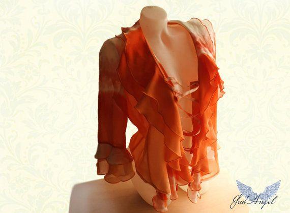Romantic Victorian influence Orange Women Blouse Mori by JadAngel