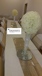 EXQUISITE EVENTS AND CHAIR COVER HIRE: Huge Rose ball on Conical Vase Centrepiece to Hire...