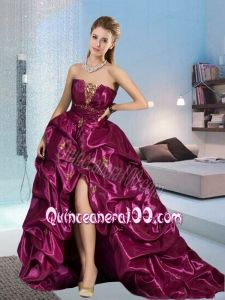 The Most Popular Fuchsia Dama Dress with Appliques and Pick-ups For 2015