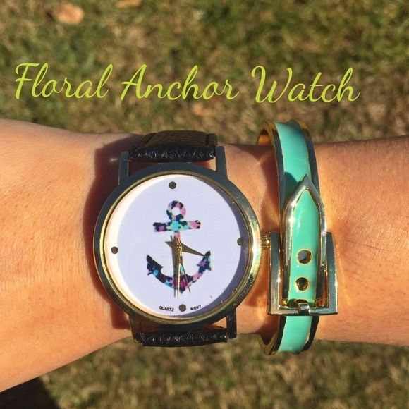 Floral Anchor Watch with Leather Straps Big face anchor watch, band is black. Questions please let me know. Accessories Watches