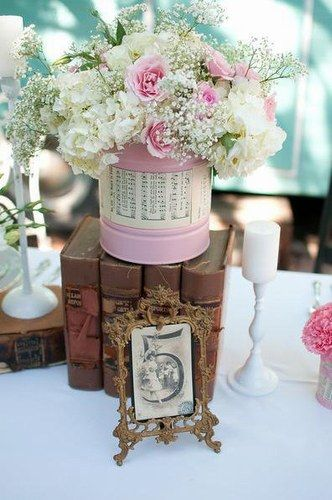 Floral Centerpieces, Idea, Flowers Bouquets, Vintage Weddings, Tin Can ...