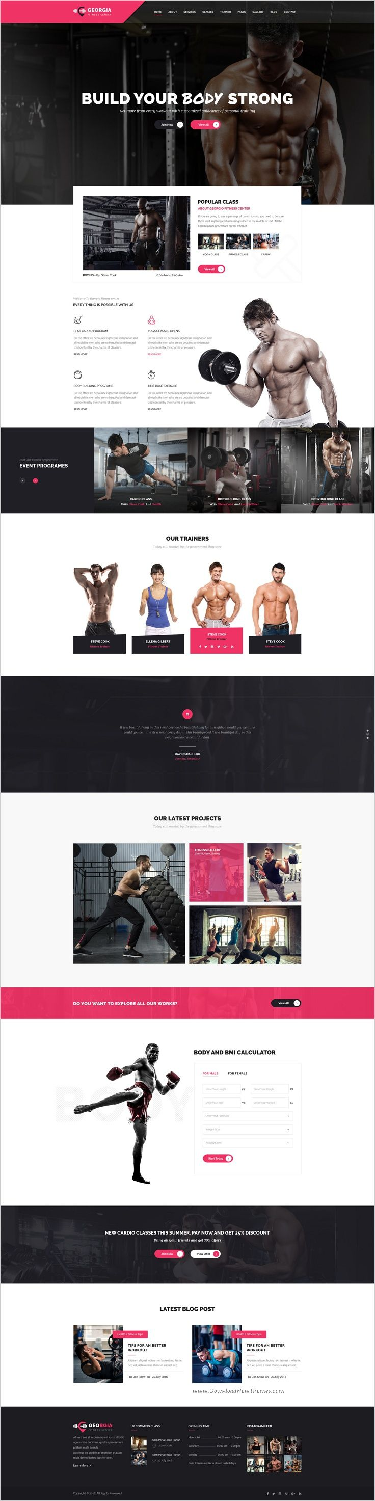 Georgio is a beautifully design premium #PSD #template for #gym fitness, health…